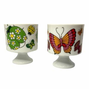 VTG Ladybug & Butterfly Coffee Cups or Planters (2